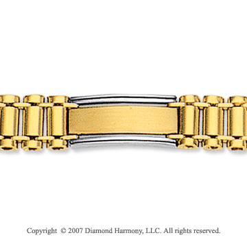 14k Two Tone Gold Regular 9.00mm Men's Style Bracelet